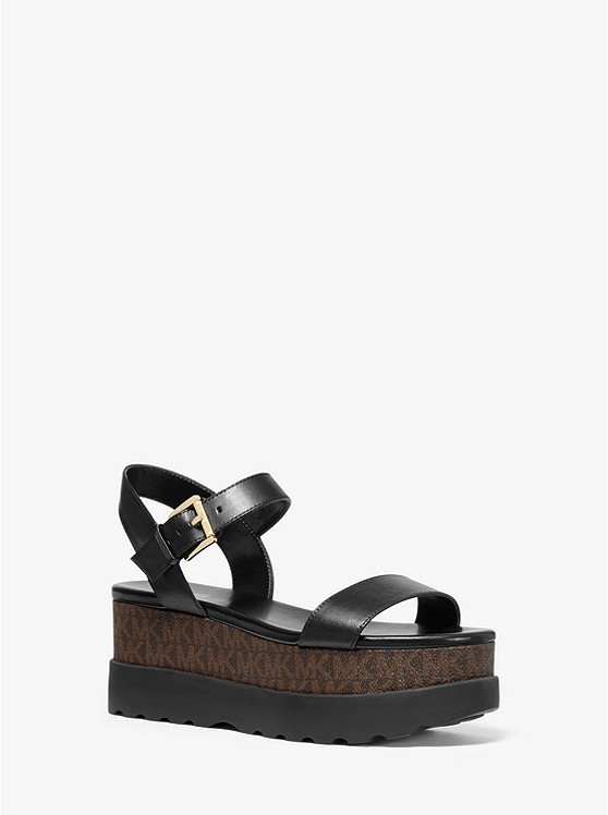 Marlon Leather and Logo Flatform Sandal | Michael Kors