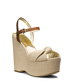 Benji Natural Straw Wedge Platform Sandal