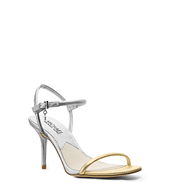 Carlene Metallic Embossed-Lizard Leather Sandal