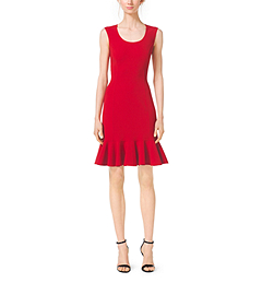 Scoopneck Wool-Crepe Flounce Sheath Dress by Michael Kors
