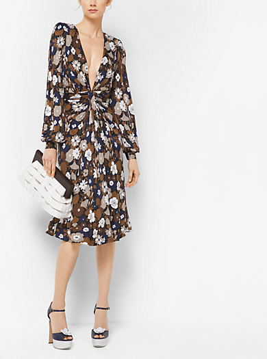 Floral Satin-Jersey Plunge Dress by Michael Kors