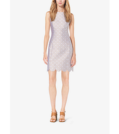 Eyelet Silk-Jacquard Shift Dress