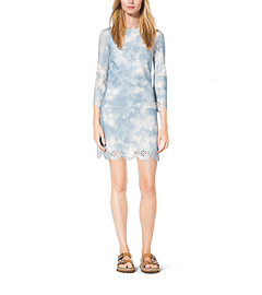 Tie-Dye Scalloped Suede Shift Dress by Michael Kors