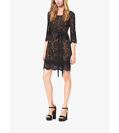 Scalloped-Lace Shift Dress