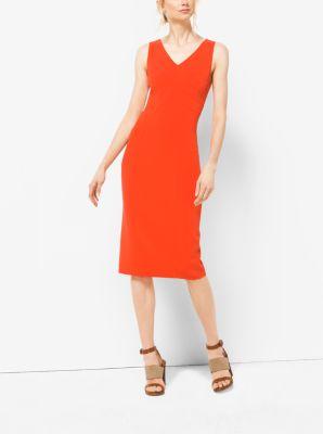 Stretch Wool-Crepe V-Neck Sheath Dress by Michael Kors