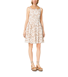 Plongé-Collar Floral Guipure Lace Dress