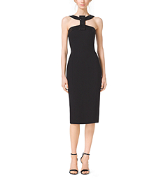 Beaded-Bow Stretch Bouclé-Crepe Dress by Michael Kors