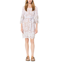 Crystal-Embellished Scalloped-Lace Shift Dress by Michael Kors