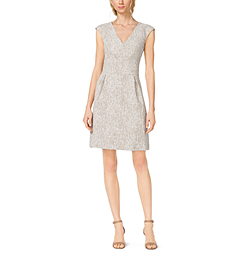 Crosshatch Printed Linen Dress by Michael Kors
