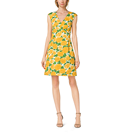 Peony-Print Matelassé Dress by Michael Kors