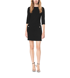 Bouclé-Crepe Boat-Neck Shift Dress by Michael Kors