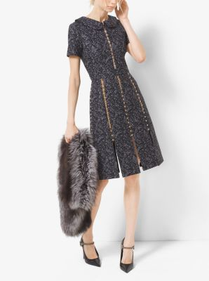 Studded Tweed Wool Jacquard Slashed Dress by Michael Kors