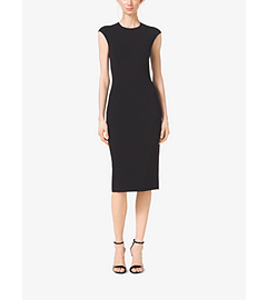 Stretch Wool-Crepe Cap-Sleeve Sheath Dress by Michael Kors