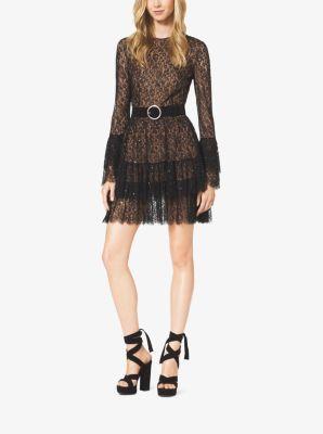 Beaded Chantilly Lace Ruffle Mini Dress by Michael Kors