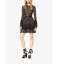 Beaded Chantilly Lace Ruffle Mini Dress