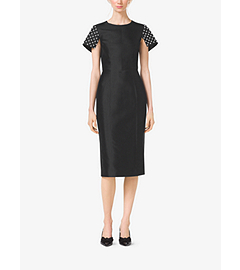 Pearl-Embroidered Silk and Wool Shantung Sheath Dress by Michael Kors