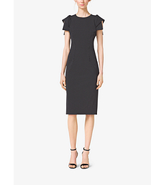 Pindot Origami-Sleeve Stretch-Wool Sheath Dress by Michael Kors