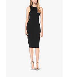 Sequin-Paneled Double-Face Bouclé-Crepe Sheath Dress by Michael Kors
