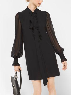 Ruffled Silk-Georgette Shiftdress by Michael Kors