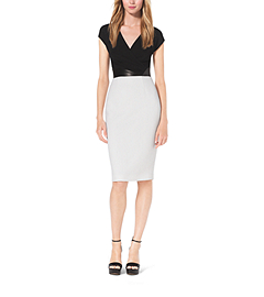 Contrast Bouclé-Crepe Sheath Dress