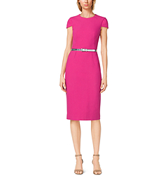 Belted Cotton-Crepe Sheath Dress
