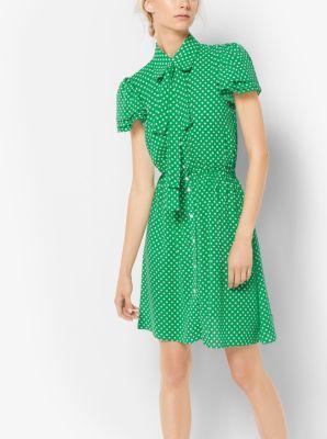 Polka Dot Silk Georgette Shirtdress by Michael Kors
