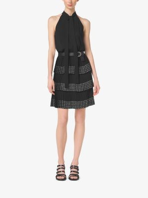 Grommet-Embellished Pleated Silk-Georgette Dress by Michael Kors