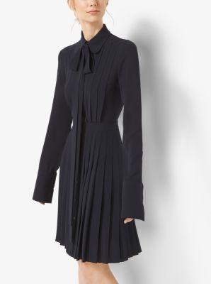 Pleated Silk-Georgette Shirtdress by Michael Kors
