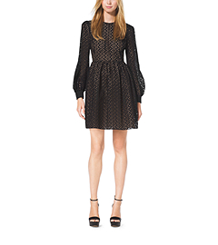 Eyelet-Embroidered Silk-Jacquard Bell Dress by Michael Kors