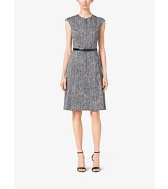 Herringbone-Print Cap-Sleeve Sateen Dress by Michael Kors