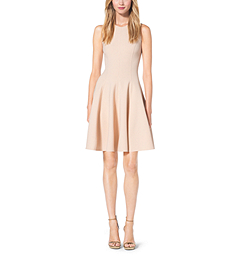Double-Face Stretch Wool-Crepé Flare Dress