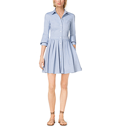Cotton Oxford Double-Cuff Shirtdress