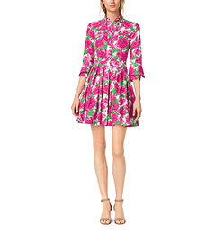 Peony-Print Cotton-Poplin Shirtdress by Michael Kors