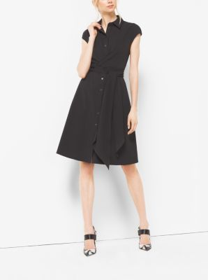Cap-Sleeve Cotton-Poplin Wrap Dress  by Michael Kors