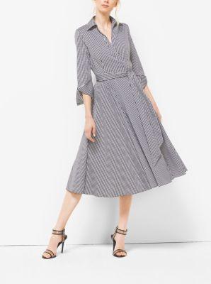 Gingham Cotton-Poplin Wrap Dress  by Michael Kors