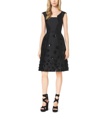 Silk and Wool Shantung Embroidered Pleat Dress by Michael Kors