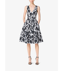 Brushstroke Floral Cotton-Matelassé Dress by Michael Kors