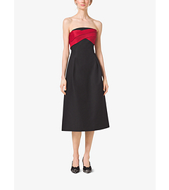Strapless Silk and Wool Mikado Midi Dress by Michael Kors
