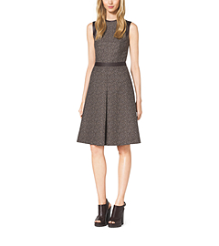 Herringbone Jacquard Leather-Trim Dress