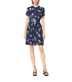 Lilac-Print Silk-Georgette Flirt Dress by Michael Kors