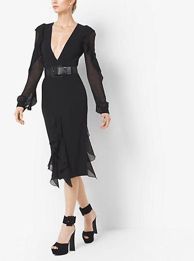 Stretch-Wool-Crepe Dress With Bias Silk Chiffon Ruffles by Michael Kors