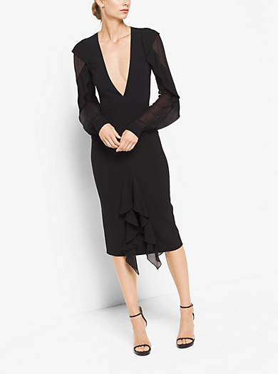 Double-Face Sretch-Wool-Crepe Dress With Bias Silk Chiffon Ruffles by Michael Kors