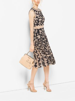 Floral Silk-Georgette and Chantilly Lace Dress by Michael Kors