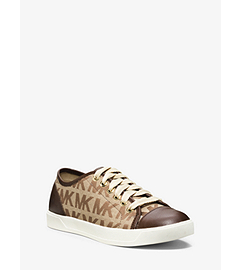 Logo-Print Metallic Leather Sneaker