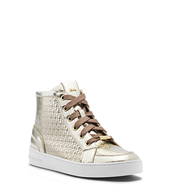 Breck Metallic Embossed-Leather Sneaker