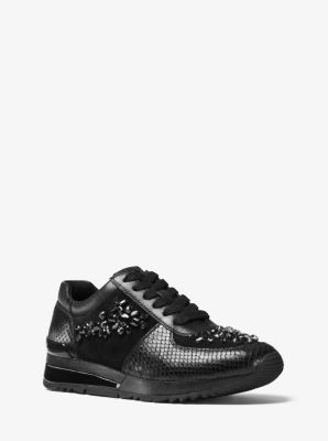 Allie Embellished Leather Sneaker by Michael Kors