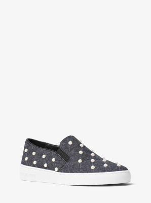 Keaton Embellished Flannel Slip-On Sneaker by Michael Kors
