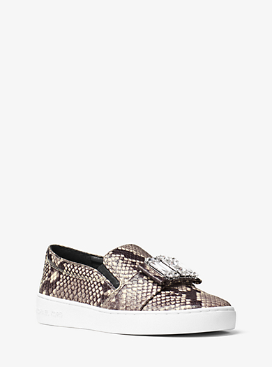 Michelle Embossed-Leather Slip-On Trainer by Michael Kors