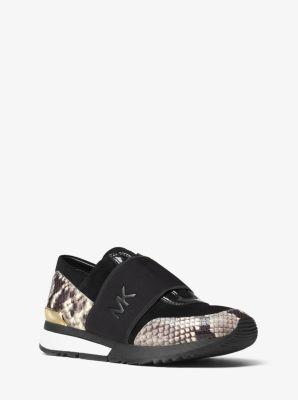 MK Logo Embossed-Leather Sneaker by Michael Kors
