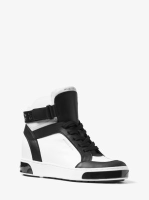 Pia High-Top Two-Tone Leather Sneaker by Michael Kors